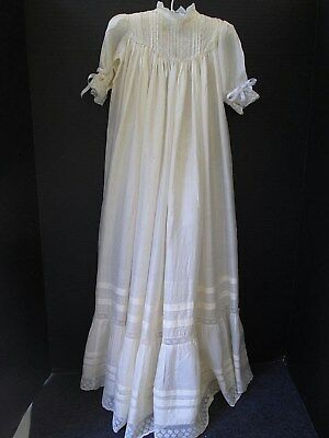 Antique Silk Christening Gown Hand Embroidery & Lace..england