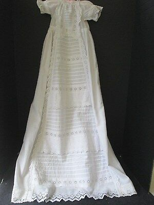 Antique White Cotton Christening Gown Broderie Anglaise Trim..england