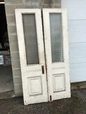MAR 228 match Pair antique textured glass double doors 43.5 x 82