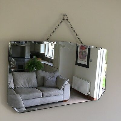 Vintage Bevelled Edge Frameless Art Deco Mirror 1930-40's Original Chain 61x35cm