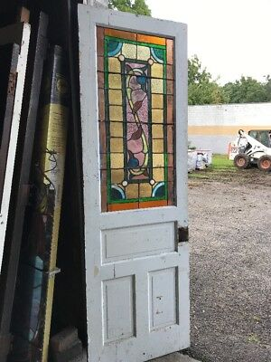 MAR229 antique Stainglass oversize door 29 5/8 x 89.75