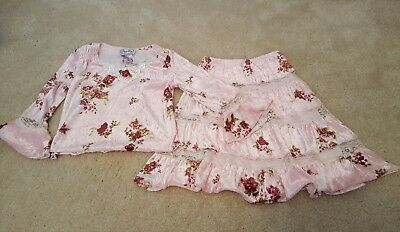 Vintage Diggy Bop 2 Pc. Girls Size 4 Top & Skirt Outfit Pink Floral Print W/Lace