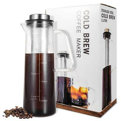 34Oz Cold Brew Iced Coffee Maker Tea Infuser Glass Carafe Stainless Steel Filter