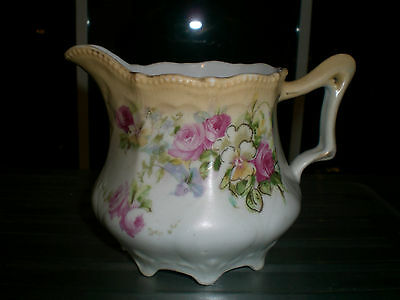 VINTAGE Hand Painted Porcelain Creamer with Cabbage Roses