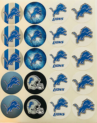 """SET of 20- 2"""" DETROIT LIONS ADHESIVE STICKERS. Make Cupcake Toppers & more"""