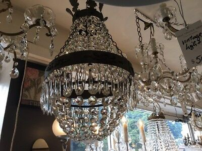 ORIGINAL VINTAGE BASKET FRENCH EMPIRE DOME LARGE CRYSTAL CHANDELIER No.30