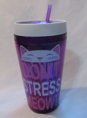 Cool Gear Double Wall Insulated Tumbler Hot Cold 20 oz Cup DONT STRESS MEOWT CAT
