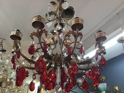 ORIGINAL VINTAGE 10 LIGHT CRYSTAL GILT METAL RED DROPS CHANDELIER No.32