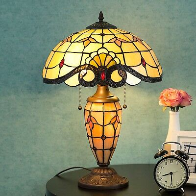 """Tiffany Style 14.25"""" Lampshade Table Lamp Victorian Double Lit Desk Lighting"""