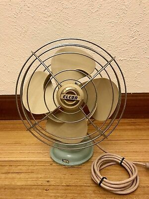 Vintage Light Blue Metal Elcon Electric Oscillating Table Fan Space Age