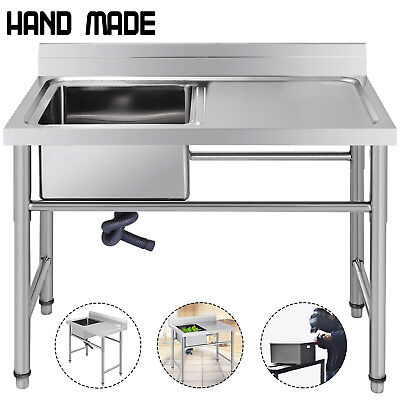 Commercial Stainless Steel Kitchen Utility Sink w/ Drainboard - 39 wide Handmade