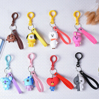 BTS Cartoon Keyring Accessories Kpop Car Bag Pendant  KeyChain BT21 Key Holder