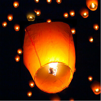 (10) White Paper Chinese Lanterns Sky Fly Candle Lamp for Wish Party Wedding