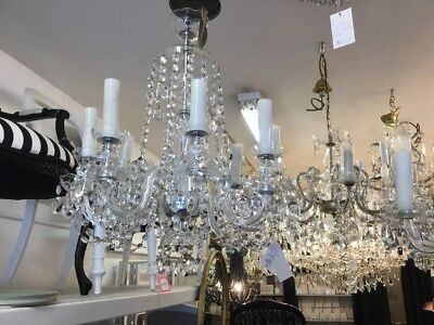 VINTAGE CZECH CRYSTAL 8 LIGHT CHANDELIER BEDROOM DINING ROOM HALLWAY No.15