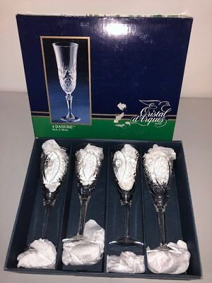 Vintage Cristal D'arques France 4 Danube Crystal Wine Glass Glasses