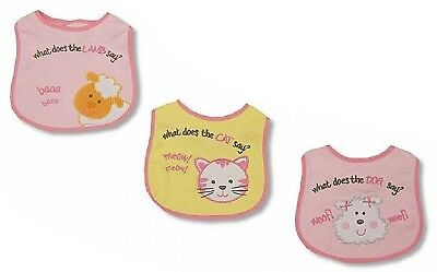 12 x Animal Friends Baby Girls Bibs Pink Bundle Gift - Wholesale Job Lot