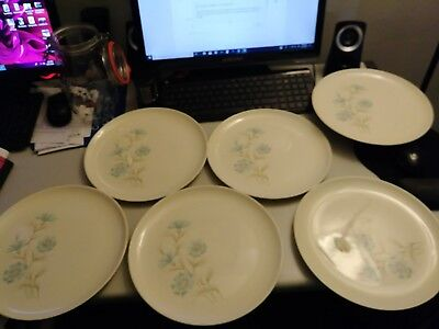 Set of 6, 10 inch Dinner Plates, Taylor, Smith,& Taylor, Boutonniere, Ever Yours