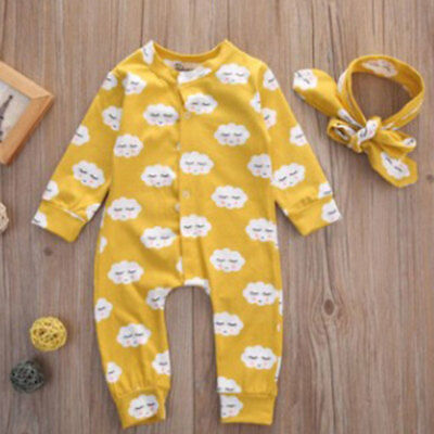 Newborn Infant Baby Boys Girls Romper + Hair Band headscarf Outfit Clothes Set