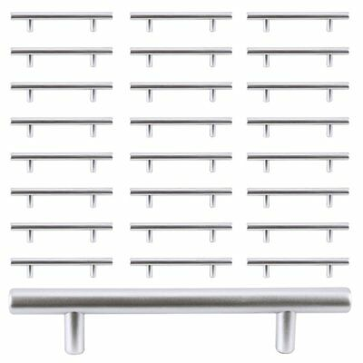 30pcs SOLID Stainless Steel T bar Kitchen Cabinet Door Handles Drawer Pulls-BE
