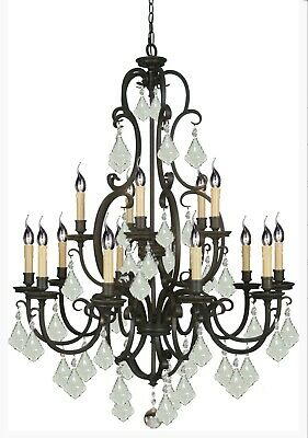 LARGE BLACK IRON CHANDELIER FRENCH COUNTRY PENDANT 15 LIGHT VINTAGE FOYER No.51