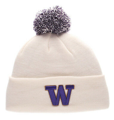 2f8e95c4973 Washington Huskies White Ncaa Vintage Knit Beanie Pom Z Ski Cap Hat Nwt!