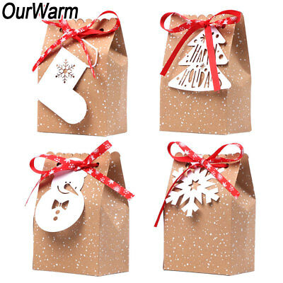 60x Christmas Gift Bags Paper Party Bag Xmas Favor Candy Box with Tag and Ribbon