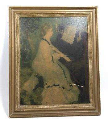 Vintage Antique Victorian Style Wall Art Gold Frame Piano Women Ornate Music