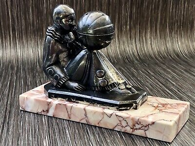 Art Deco Style Pewter Clown & Ball On Marble Base No Makers Markings