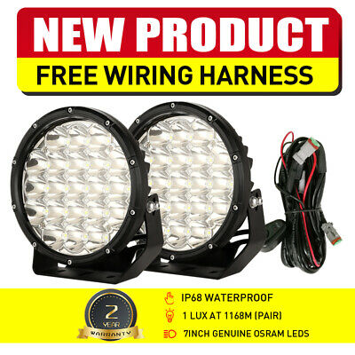 Pair 7inch 98000W Round Cree LED Spot Work Driving Spotlights Offroad Jeep ATV