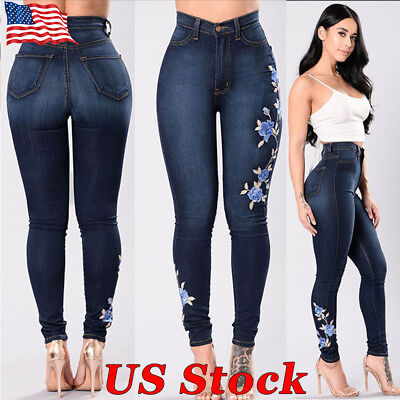 Women Leggings Denim Jeans New Skinny High Waist Trousers Stretchy Pencil Pants