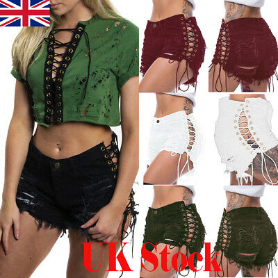 UK Womens Ladies Ripped High Waisted Denim Shorts Jeans Side Lace Up Hot Pants