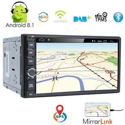 HIZPO android 8.1 Double Din Car Stereo Sat Nav Bluetooth Support GPS WIFI DAB
