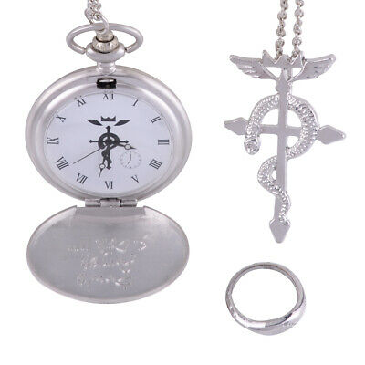 3pcs Anime Fullmetal Metal Alchemist Cosplay Pocket Watch + Necklace + Ring Kit