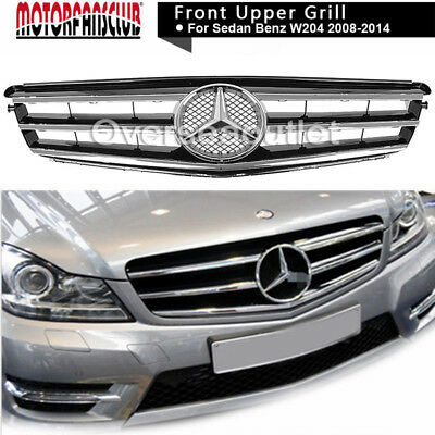 For 08-14 Mercedes Benz C-Class w204 Grille Grill Black Radiator AMG Style