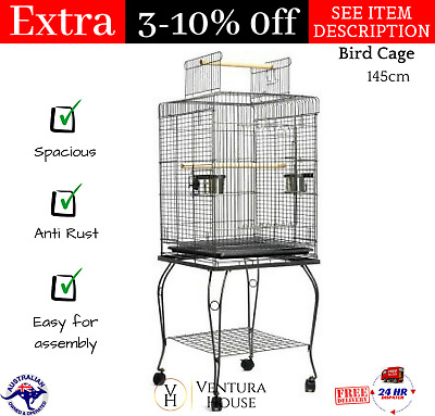 Large Metal Pet Bird Parrot Canary Cage with Stand Alone Budgie Perch 53cm - NEW