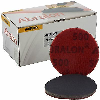 "Mirka Abralon 77mm 3"" P500 Grit 20x HookNLoop Foam Fine Finishing Discs Pad"