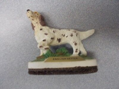 Vintage bisque porcelain  Brown and White English Setter pointing Dog