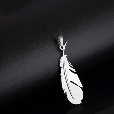 NEW Fashion Feather Silver 316L Stainless Steel Titanium Pendant Necklace Q30