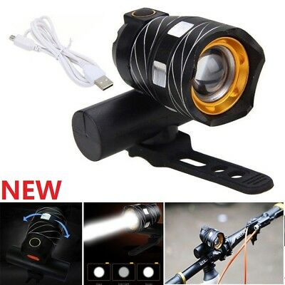 USB Rechargeable XML T6 LED Bicycle Bike Front Light Cycling Head Lamp USZX7