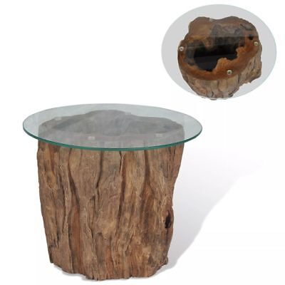table basse teck verre 50 x 40 cm