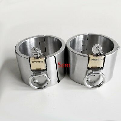 2pcs 5CM Height Stainless Steel Bondage shackles Wrists Hands Ankle Leg Cuffs
