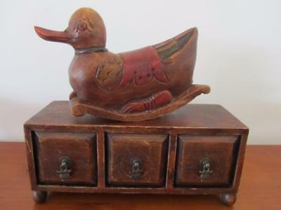 Vintage Solid WOOD Hand Carved ROCKING DUCK Sculpture Ornament Home Decor