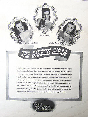 cool clipping...rare original 1947 GIBSON GUITAR AD - GRACE HAYES, MARY OSBORNE