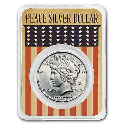 1922-1925 Peace Silver Dollar Eagle Flag Card BU (Random Year) - SKU#171950