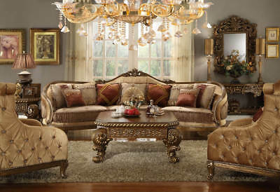 Luxury Sectional Sofa Set Couch Wood Trim Design Living Room Furniture Chairs
