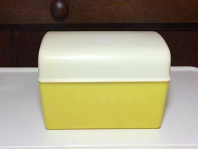 Vintage Lustro Ware Yellow plastic recipe box made in USA
