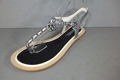 3344ac642f6 CHANEL 40C Silver Metallic Leather Ivory Woven Chain Thong Sandals Flats CC  NEW