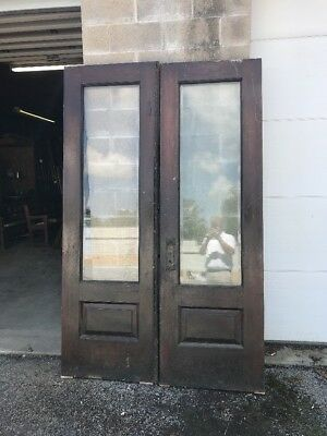 MAR 239 matched pair of antique beveled glass oak Double Doors 56 x 89 x 2.25
