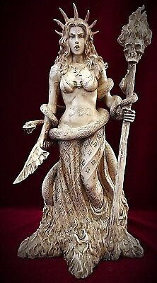 Hecate Statue-Greek Mythology Wiccan Pagan Goddess Witchcraft Magic Snake Ivory