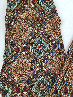 Lularoe Leggings Tween Pant Orange Multicolor Aztec Fun soft NWT - P8